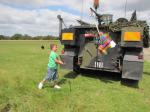 Birthday party, pinata from a tank
